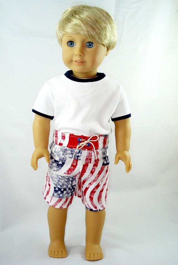 American Girl Boy Doll Clothes - Board Shorts, Crew Neck Shirt, 18 ...