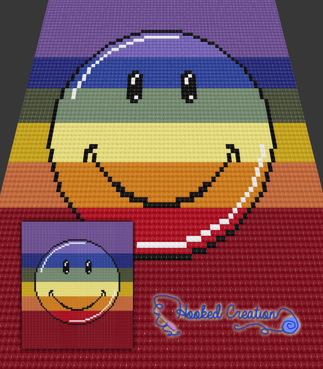 Rainbow Smiley C2C Throw Blanket Crochet Pattern