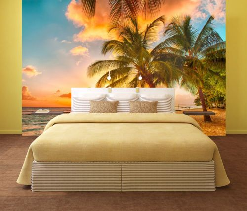 3D Sky Tree Beach 845 Wallpaper Mural Paper Wall Print Wallpaper ...