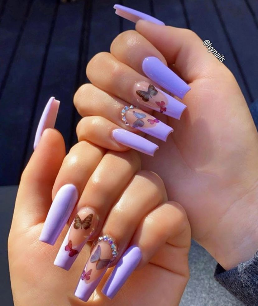 54 The Brightest Spring 2020 Nail Trends That Are So Popular Right Now Ecemella In 2020 Purple Acrylic Nails Butterfly Nail Designs Cute Acrylic Nail Designs