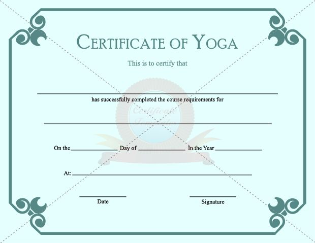 Certificate Of Yoga Physical Education Template Pinterest