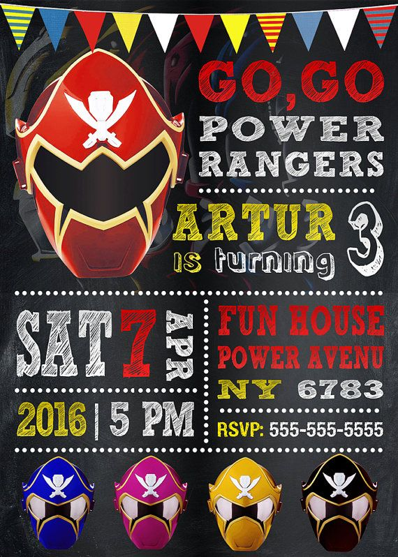 Power Rangers Invitation Power Rangers Birthday Party Power Rangers Invite Power Rangers Birthday Invitation Birthday Invite