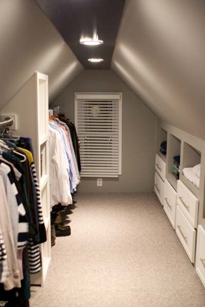 For less than $1000 these homeowners created a fabulous walk-in closet from a previously unusable attic space adding custom shelving and drawers ... & Best Built-Ins Before and Afters 2013 | Pinterest | Custom shelving ...