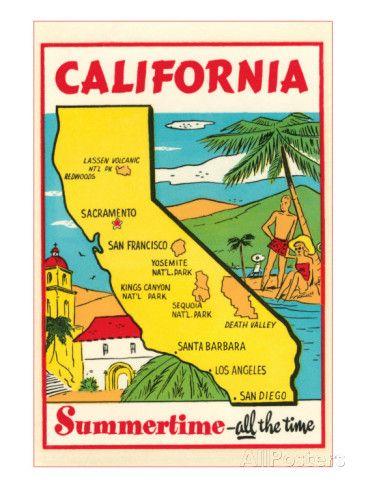 Cartoon Map of California Class Wishlist