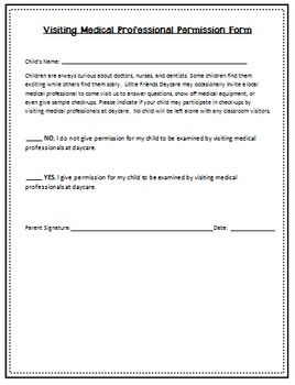 Visiting Medical Professional Permission Form  Childcare