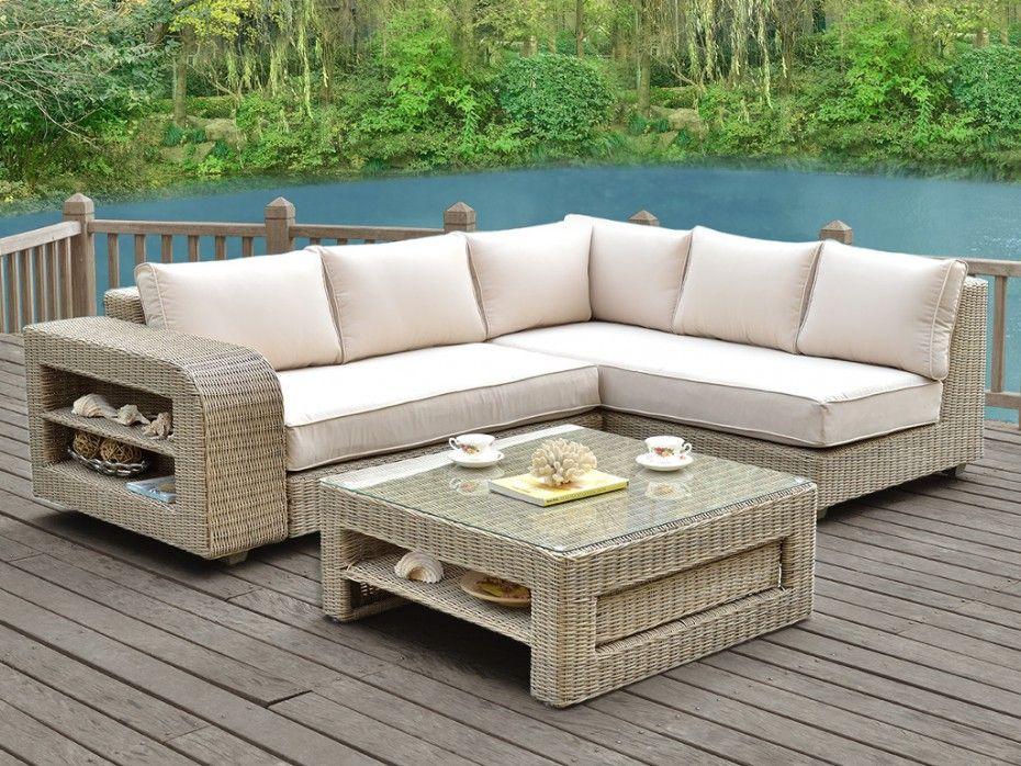 Salon de jardin KUOPIO en résine tressée beige : canapé d ...