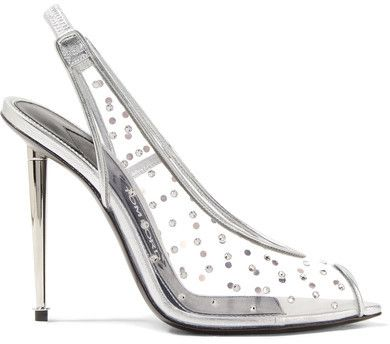 605573f08d2 TOM FORD - Embellished Metallic Leather And Pvc Slingback Pumps ...