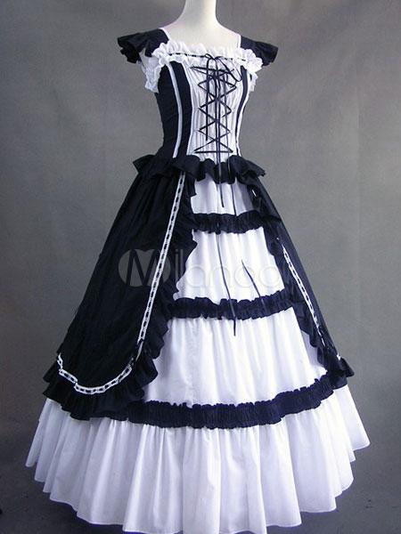 c219aeece64 Women s Vintage Costume Victorian Cotton Ruffle Retro Maxi Dress ...