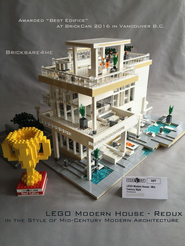 "LEGO Modern House - Redux - in the Style of Mid-Century Modern Architecture by Bricksare4me - as seen at BrickCan 2016 in Vancouver BC - awarded ""Best Edifice"""