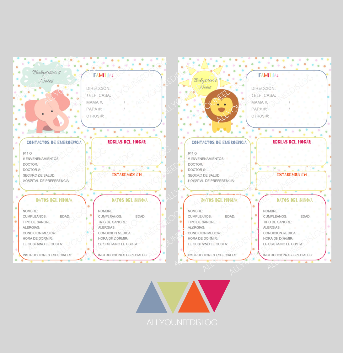 House cleaning checklist in spanish - Babysitter S Sheet English And Spanish Pdf Printable A4 Format 6 Different Animal Avatars