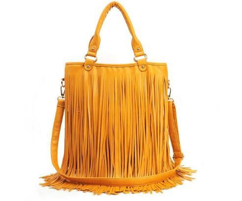 2016 new fringed bag retro portable shoulder female bag big bag multicolor
