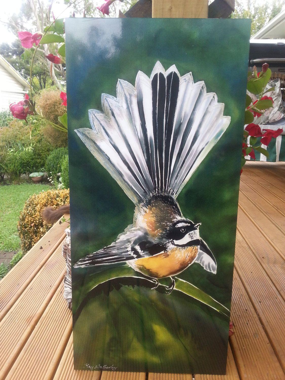 New Zealand Fantail Bird Outdoor Wall Art Panel From My Original Silk Painting Outside Art Garden Art New Zealand Outdoor Wall Art Painting Panel Wall Art