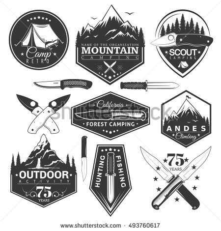 Vector Set Of Vintage Stickers In The Theme Of The Camp And Sports Vector Labels With A Picture Of Mountains Vintage Camping Badge Logo Inspirational Tshirts