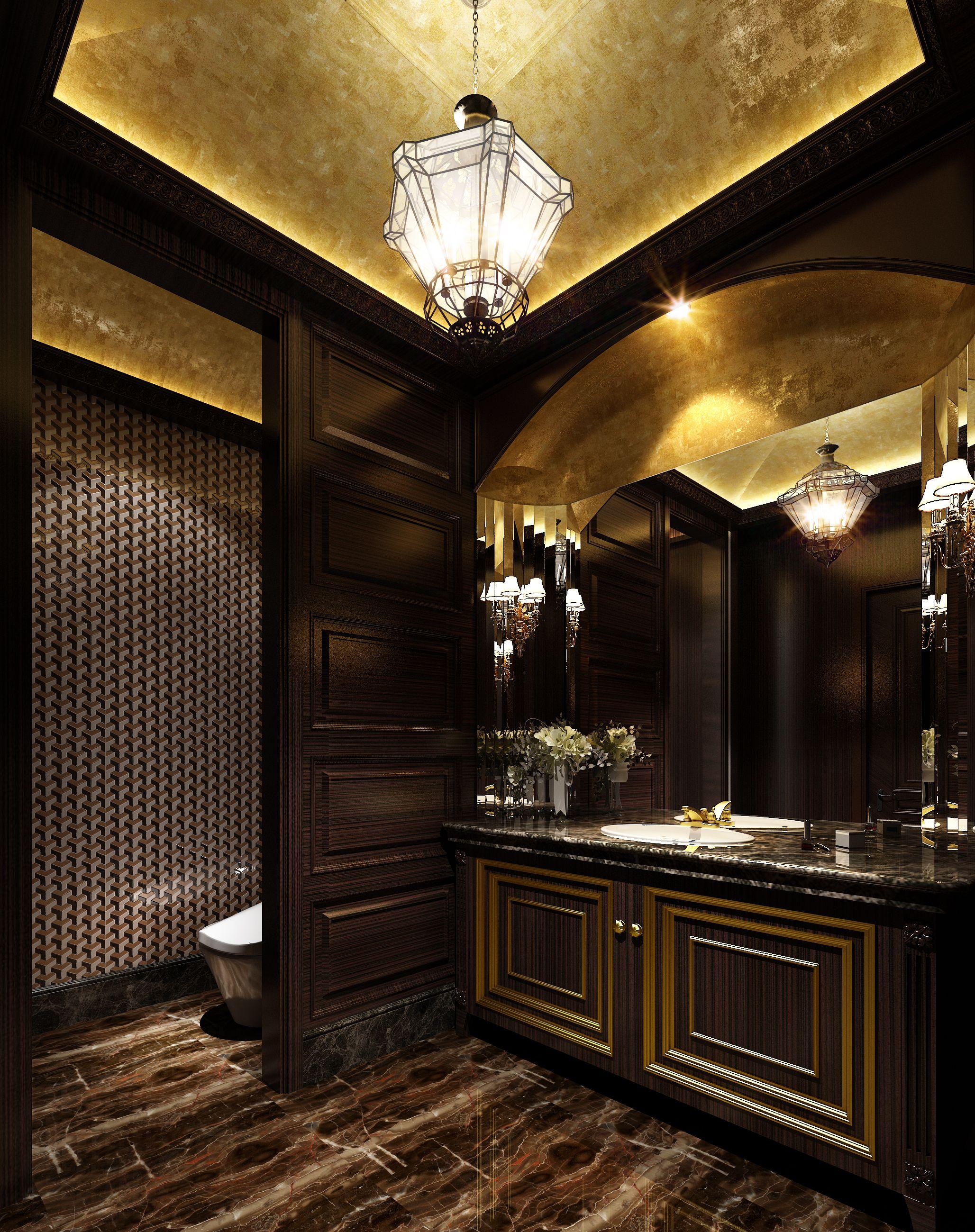 Dark Marble Floors Luxurious Dark Bathroom With Marble Floor 3d Model Marble Interior Bathroom Decor Luxury Dark Bathrooms