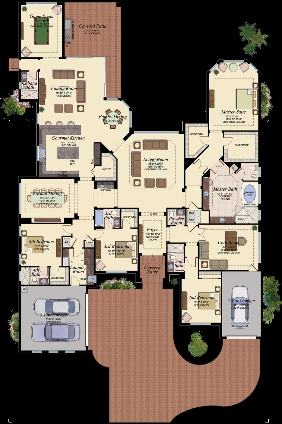 4660 square feet 4 bedroom 5 1 2 bath 3 car garage - 4 bedroom 3 car garage house plans ...