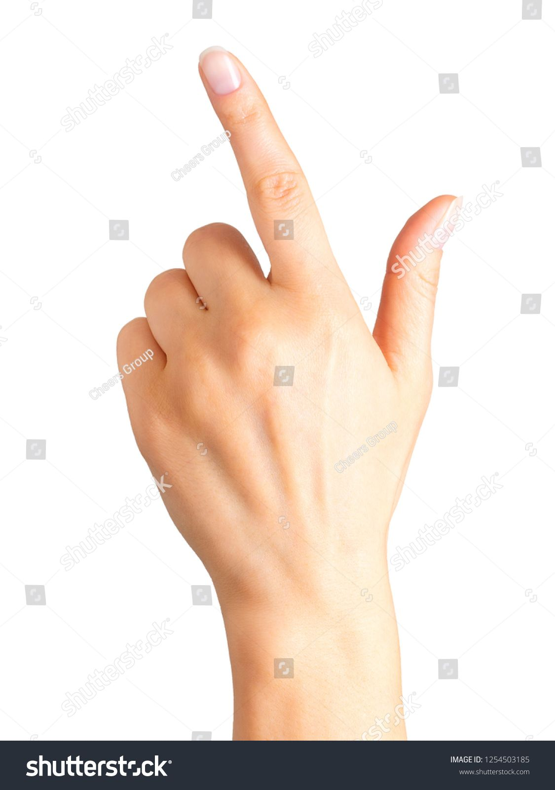 Woman hand with the index finger pointing up Isolated with clipping