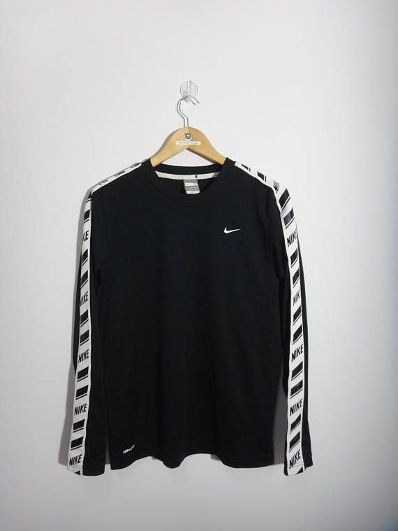 f505c45c1d5dc Vintage Nike Long Sleeve Street wear Design Fashion Black and | Hip ...
