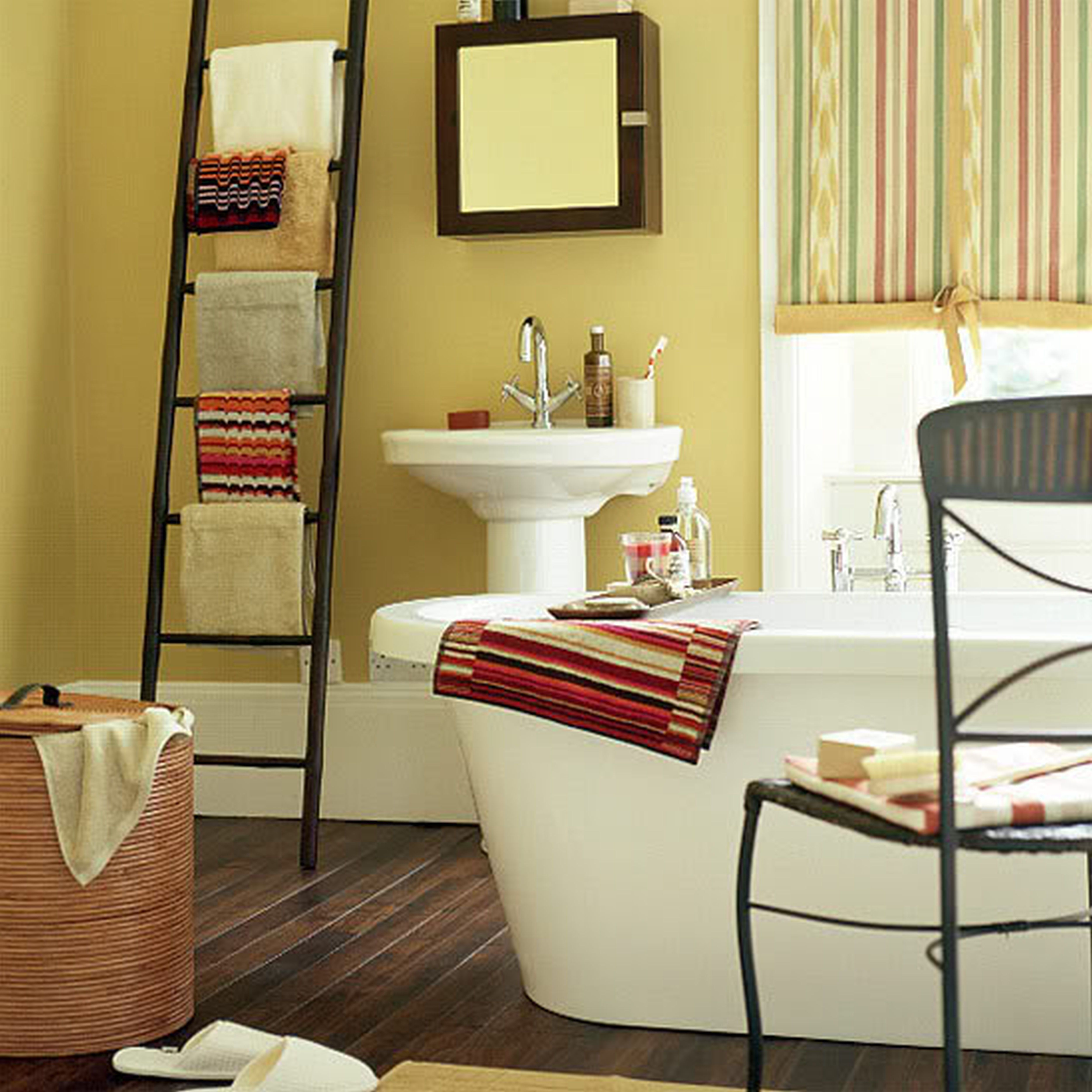 Bathroom, Glamorus With Yellow Painted Wall And Black Polished Iron ...