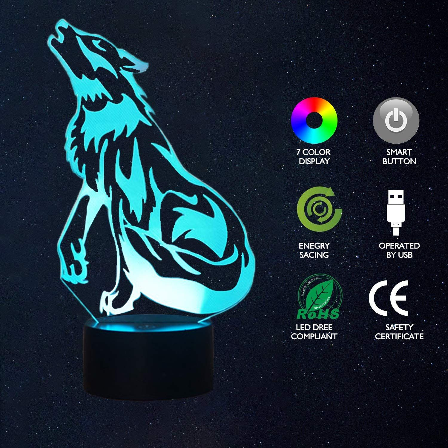 Echodream Christmas Gift Magic Wolf Lamp 3d Illusion 7 Colours Touch Switch Usb Insert Led Light Birthday Presen 3d Illusions Christmas Gifts Party Decorations