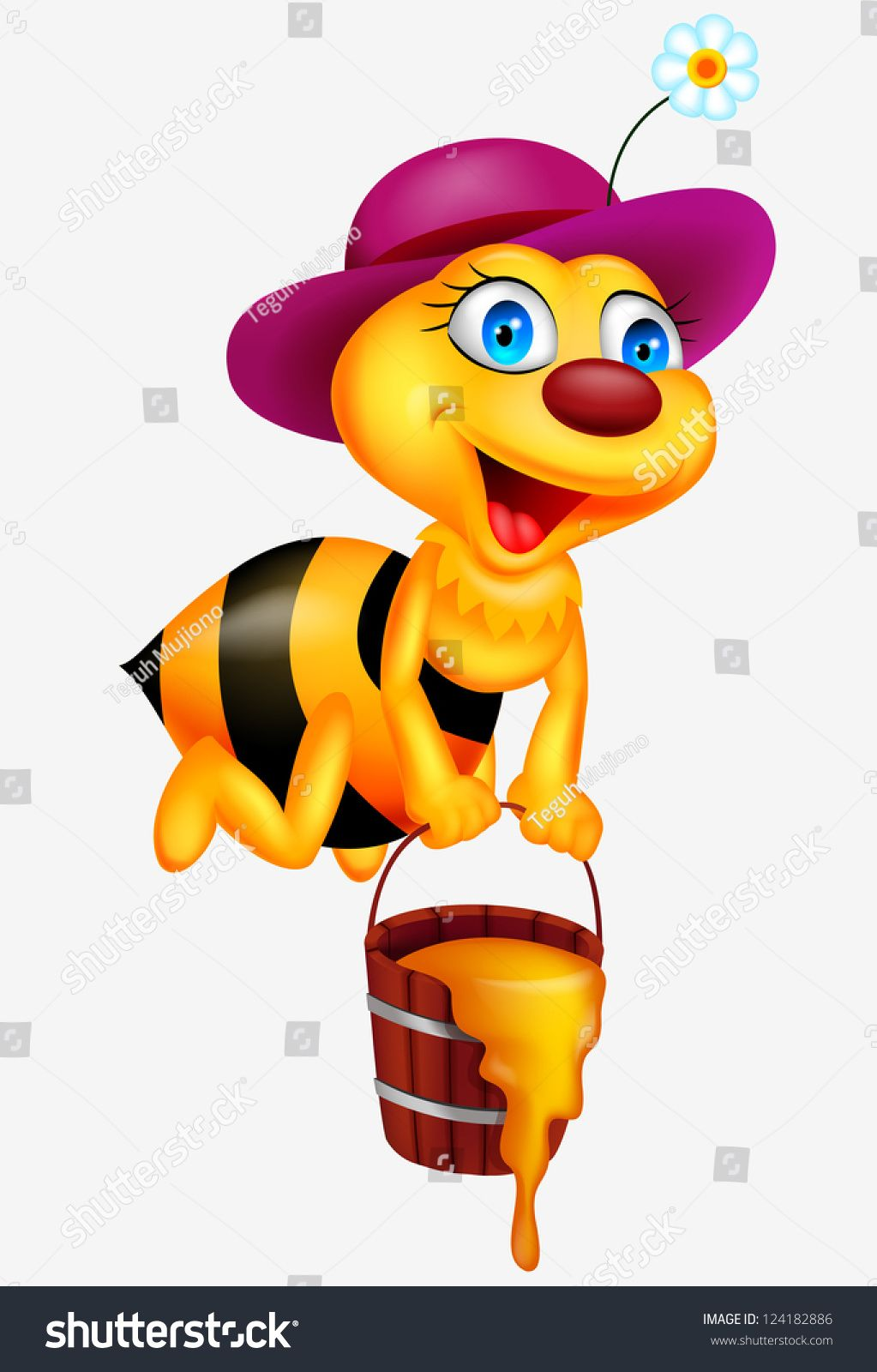 Bee cartoon with honey bucket Debra