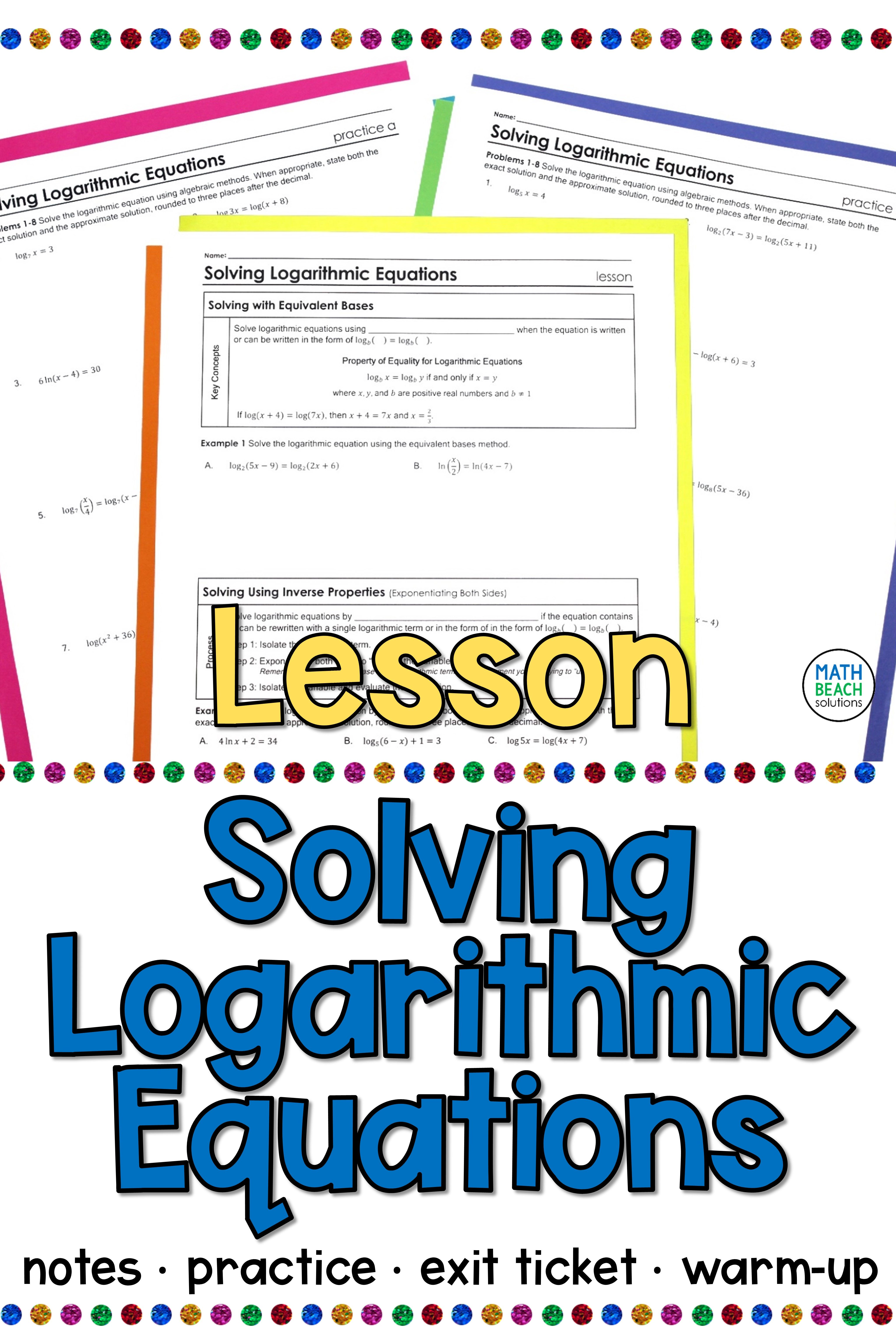 Solving Logarithmic Equations Lesson In