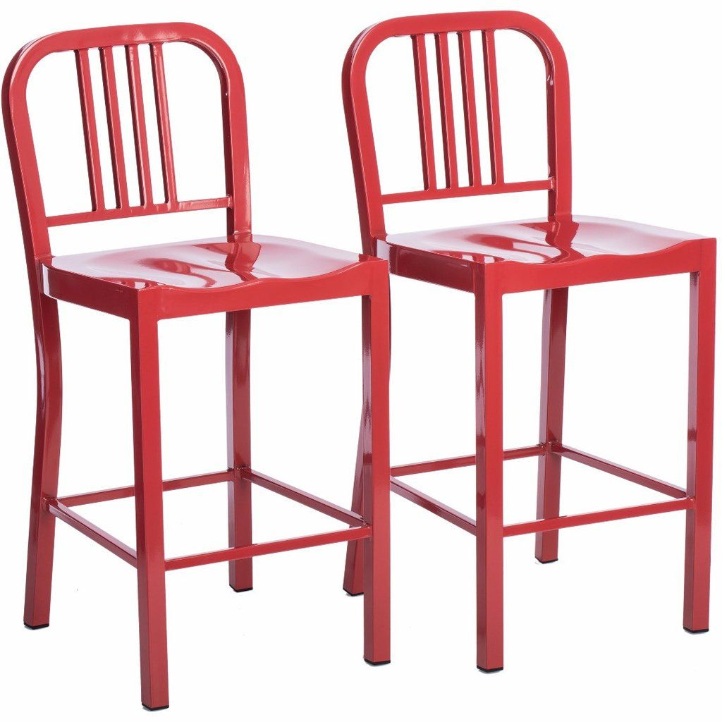 New Red Metal Bar Stools with Back