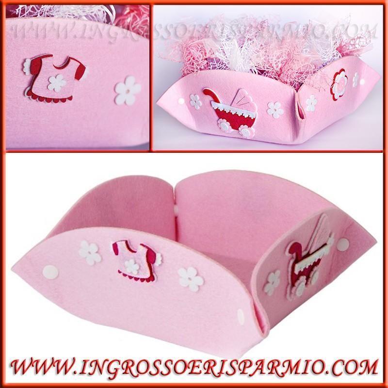 Cestini Porta Bomboniere Rosa In Feltro Per Nascita Bambina Prezzi Offerta Fai Da Te Ingrosso E Risparm Scatole In Feltro Fai Da Te Rosa In Feltro Bomboniere