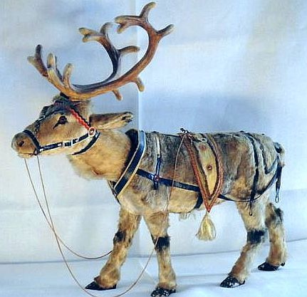 german antique xmas reindeer nodder clock work