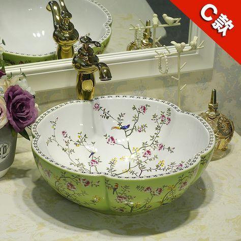 Flower Shape China Artistic Handmade ceramic sink wash basin Ceramic Counter Top Wash Basin Bathroom Sinks pink washbasin