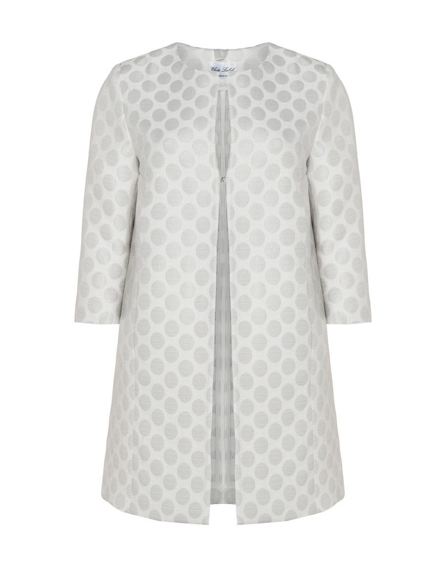 White Label Rofa Fashion Gepunkteter Jacquard-Kurzmantel in Weiß   Silber 804fa10d75