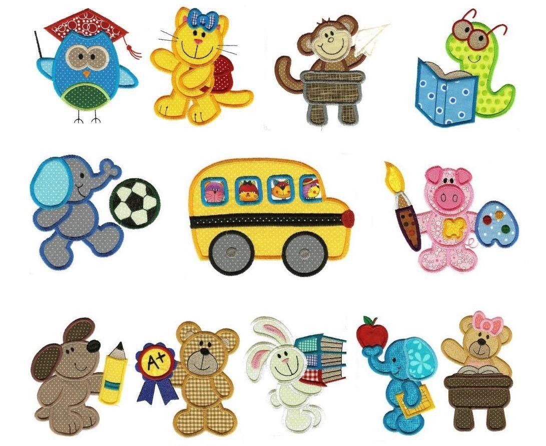 Back To School Animals Applique Embroidery Designs