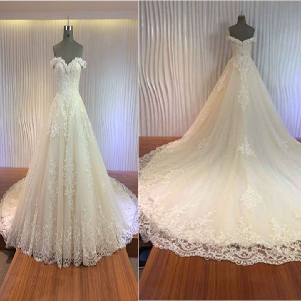 Gorgeous off shoulder sweetheart zip up long aline lace wedding
