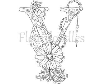 Adult coloring page floral letters alphabet y hand lettering adult coloring page floral letters alphabet y hand lettering printable anti thecheapjerseys Images