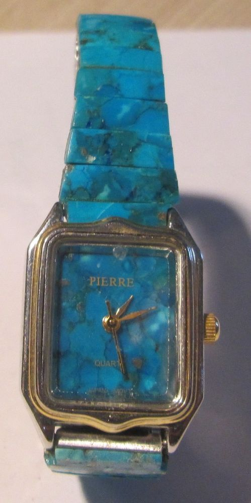 PIERRE DESIGNER TURQUOISE BLUE STONE DESIGN WOMEN'S FASHION WATCH  #Pierre #Fashion
