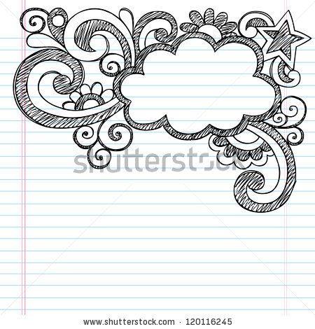 Cloud Frame Border Back To School Sketchy Notebook Doodles Vector