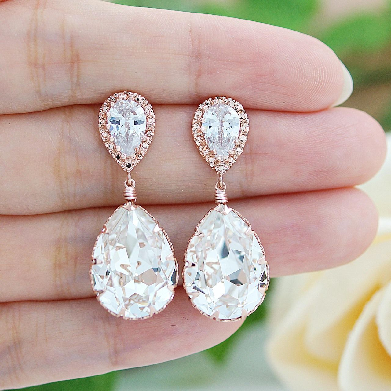 Rose Gold plated Clear White Swarovski Crystal Tear Drops Bridesmaid ...