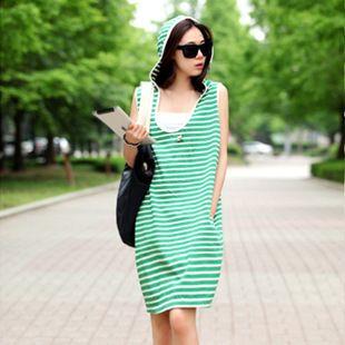 Large Size Cotton Striped Hooded Women Dresses College Sport Robe Roupas Loose Sweet Vestidos Femininos
