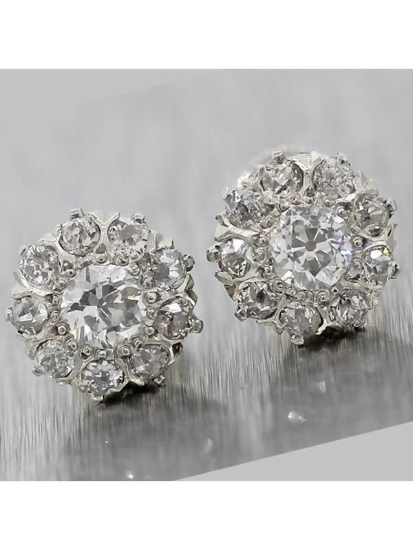 deco stud item diamond earrings art filigree white gold th style