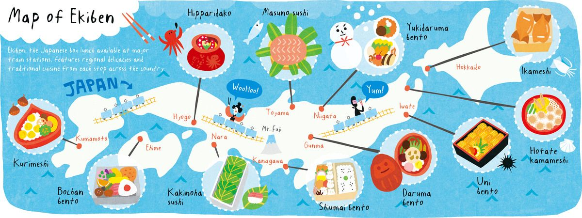 Map of Ekiben throughout Japan by AW Illustrations