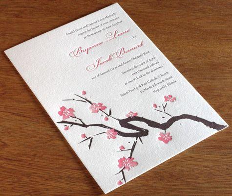Sakura Japanese Cherry Blossom Letterpress Wedding
