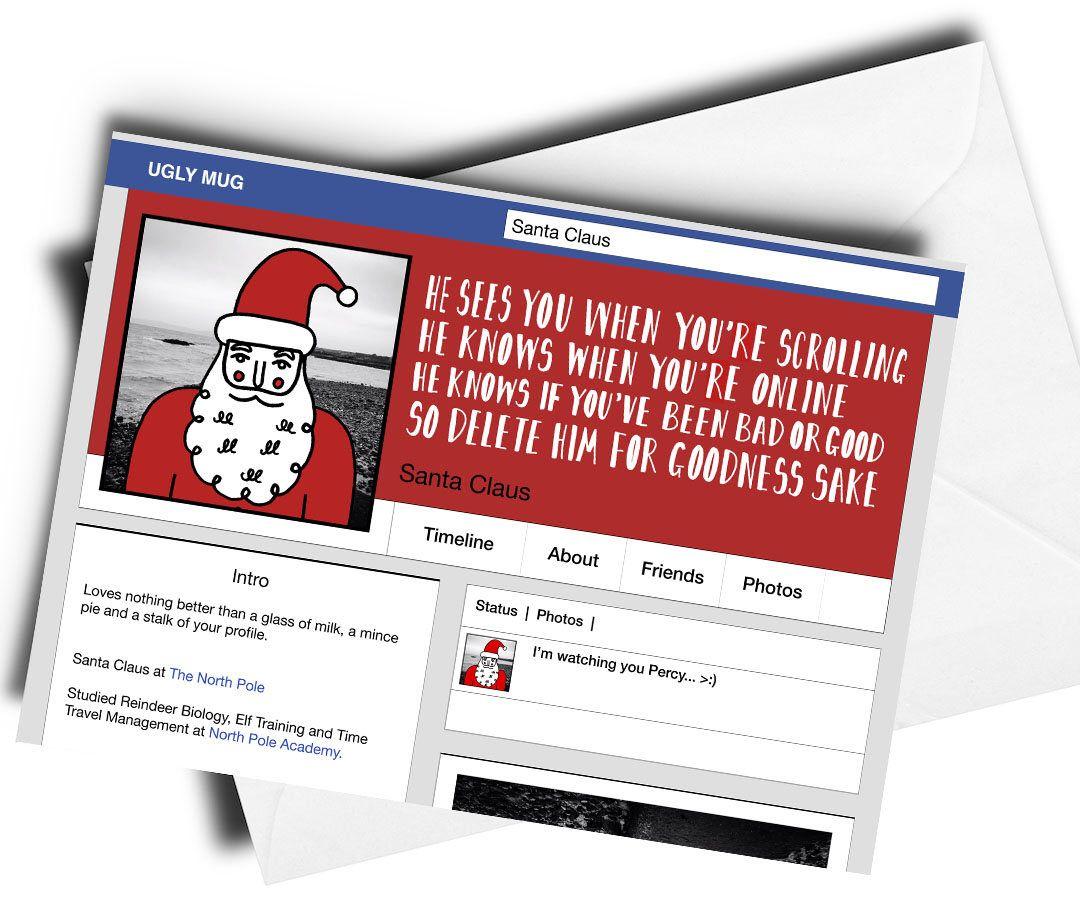 Santa Social Media Card Funny Christmas Card Funny Xmas Card