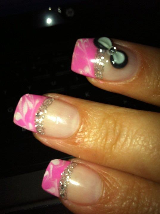 Marble white and pink tip with silver line | Nails!!!! | Pinterest