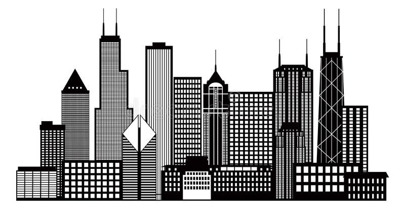 Chicago City Skyline Black And White Vector Illustration Chicago City Skyline P Affiliate Chicago Skyline Silhouette Chicago Skyline Art Skyline Silhouette