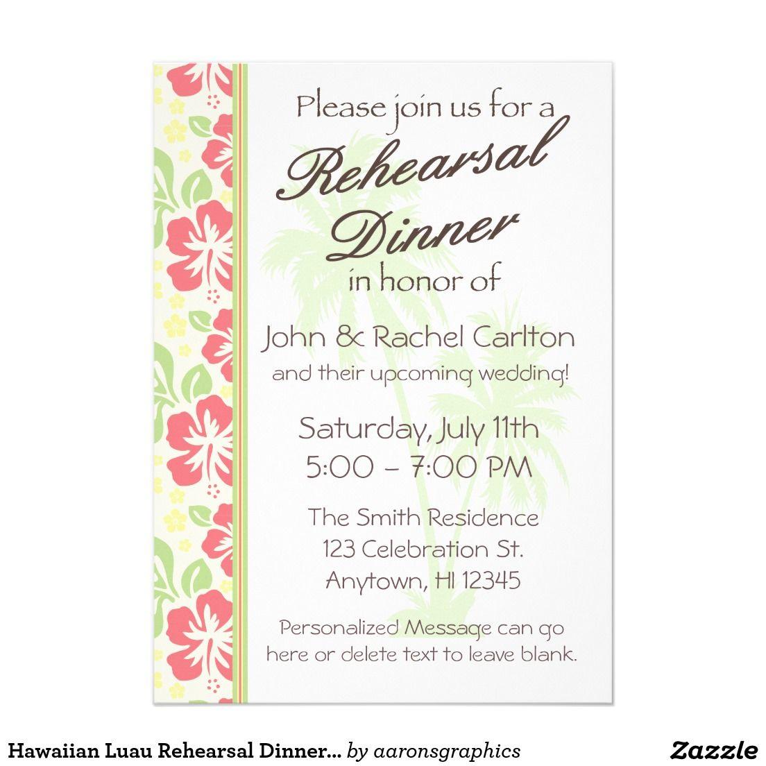 Hawaiian Luau Rehearsal Dinner Party Invitation Rehearsal Dinner