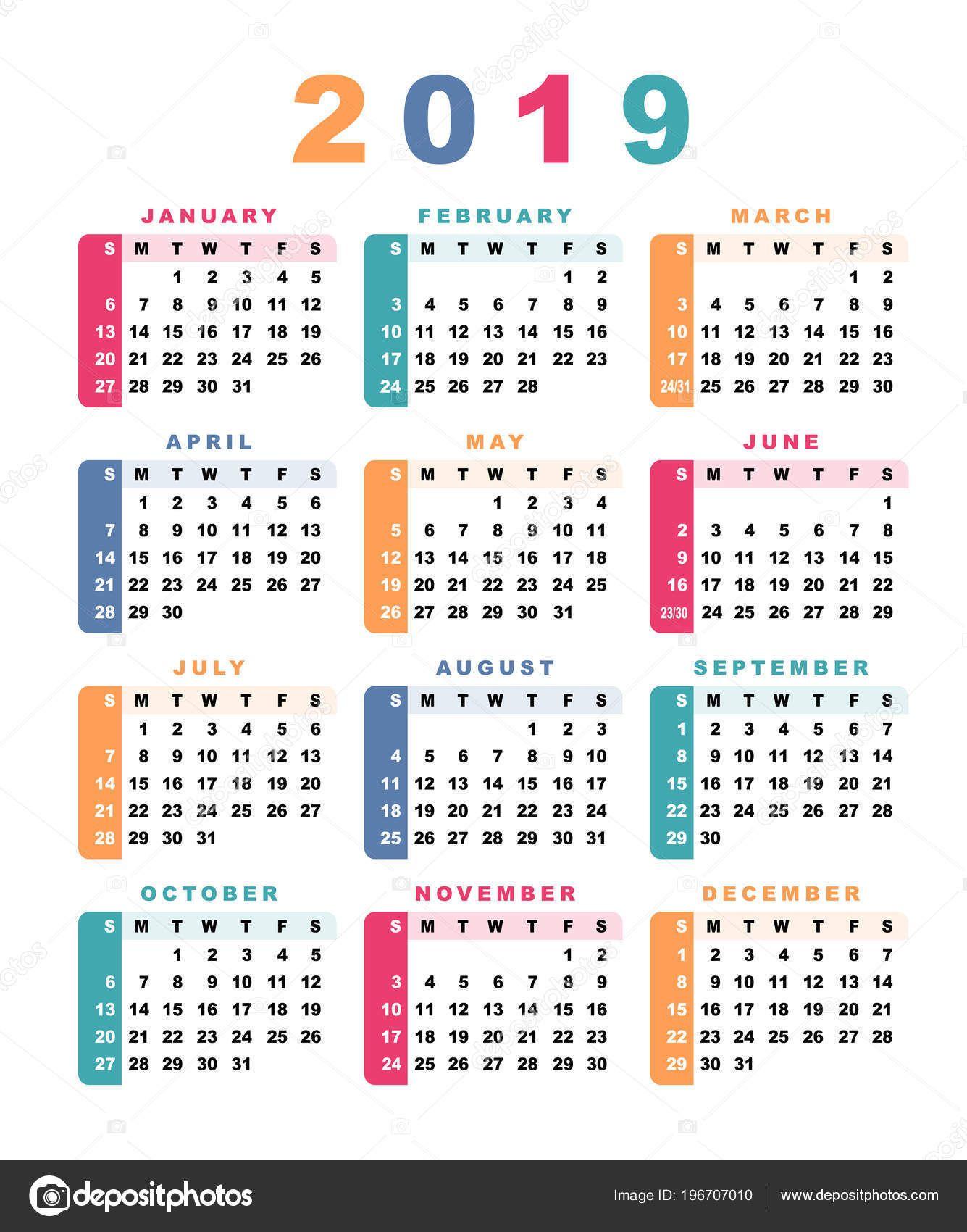 Calendario F.Baixar Calendario 2019 Semana Comeca Com Domingo