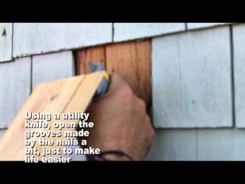 Repairing A Cedar Shingle On Your House In Less Than 6 Minutes Shingle Siding Cedar Shake Siding Cedar Shingle Siding