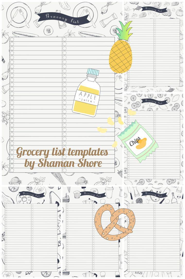 Grocery List PDF A4, Grocery Planning Printable Templates, Shopping