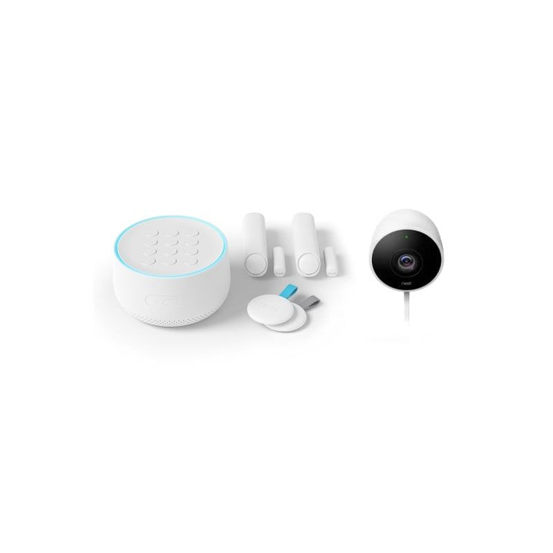Nest H1500es Nc2100es White Nest Secure Alarm System And Outdoor Security Camera Package In 2020 Outdoor Security Camera Alarm System Security Camera