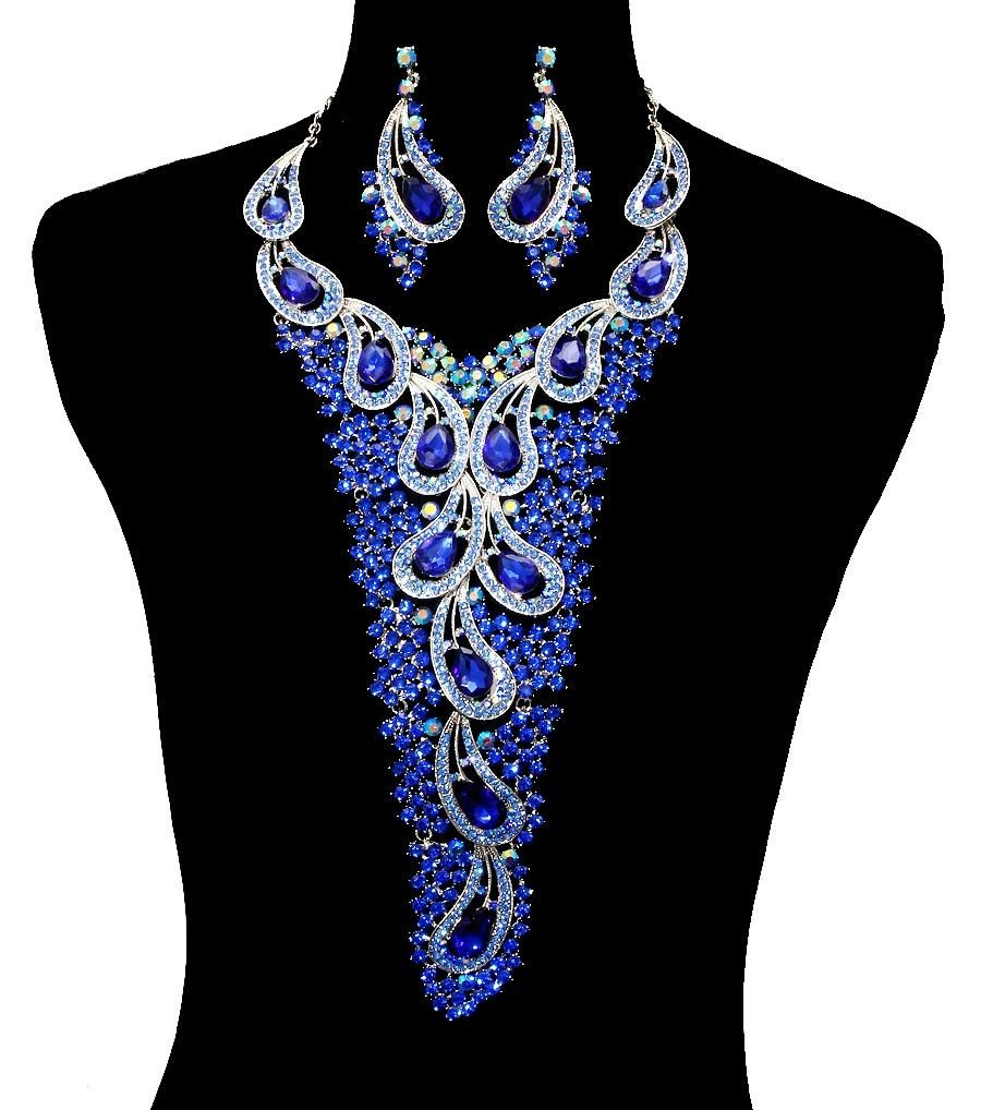 """Royal Blue Rhinestone Crystal Necklace And Earrings Statement Set. Free shipping and guaranteed authenticity on Royal Blue Rhinestone Crystal Necklace And Earrings Statement Set at Tradesy. Length 19"""" long plus 3"""" extension. Rhinestone Cry..."""