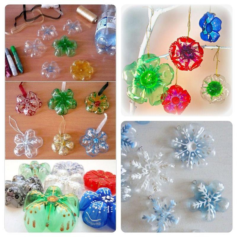 Como hacer cosas recicladas con botellas de plastico paso - Adornos para navidad con pinas ...